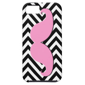 Black Chevron Pink Mustache iPhone 5 Case