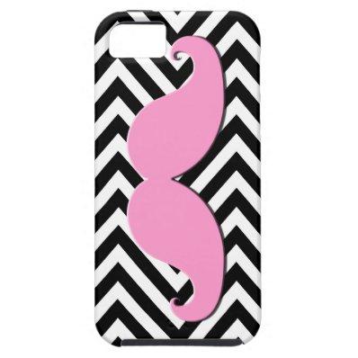 Black Chevron Pink Mustache iPhone 5 Case