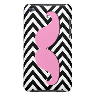 Black Chevron Pink Mustache iPOD Case Barely There iPod Case