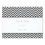 Black Chevron Print Save the Date Annoucement 4.25x5.5 Paper Invitation Card