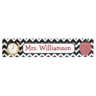 Black Chevron Red Apple Teacher Nameplate