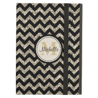Black Chevron Silver Gold Faux Glitter Monogram Cover For iPad Air