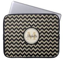 Black Chevron Silver Gold Faux Glitter Monogram Laptop Sleeve