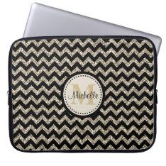 Black Chevron Silver Gold Faux Glitter Monogram Laptop Sleeve at Zazzle