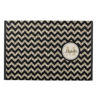 Black Chevron Silver Gold Faux Glitter Monogram Powis iPad Air 2 Case