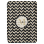 Black Chevron Silver Gold Monogram iPad Air Cover