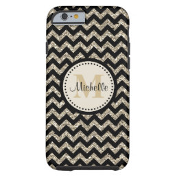 Black Chevron Silver Gold Monogram Tough iPhone 6 Case