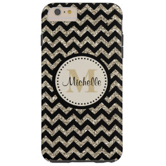 Black Chevron Silver Gold Monogram Tough iPhone 6 Plus Case