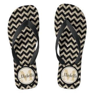 Black Chevron Silver Gold Personalized Flip Flops