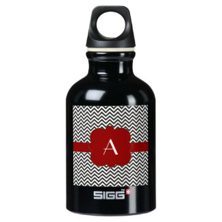 Black Chevron with Gold Trimmed Red Frame Aluminum Water Bottle