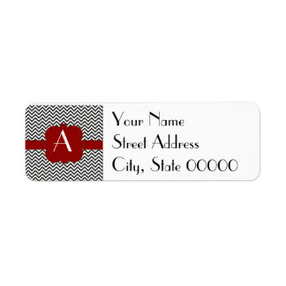 Black Chevron with Gold Trimmed Red Frame Label