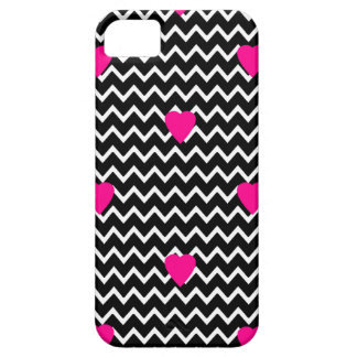 Black Chevron with Hot Pink Hearts iPhone SE/5/5s Case