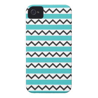 Black chevron zigzags and aqua blue stripes Case-Mate iPhone 4 case
