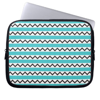 Black chevron zigzags and aqua blue stripes laptop sleeve