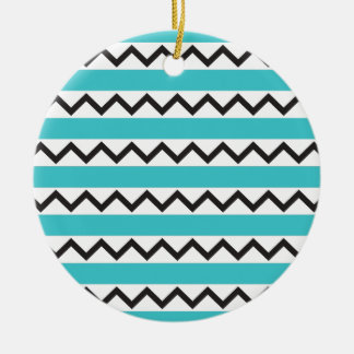 Black chevron zigzags and aqua blue stripes Double-Sided ceramic round christmas ornament