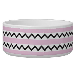 Black chevron zigzags and pale pink stripes bowl