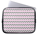 Black chevron zigzags and pale pink stripes laptop computer sleeve
