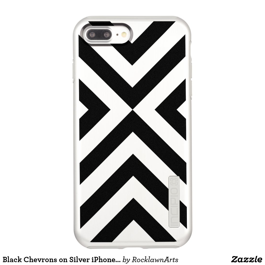 Black Chevrons on Silver iPhone 7 Plus Case
