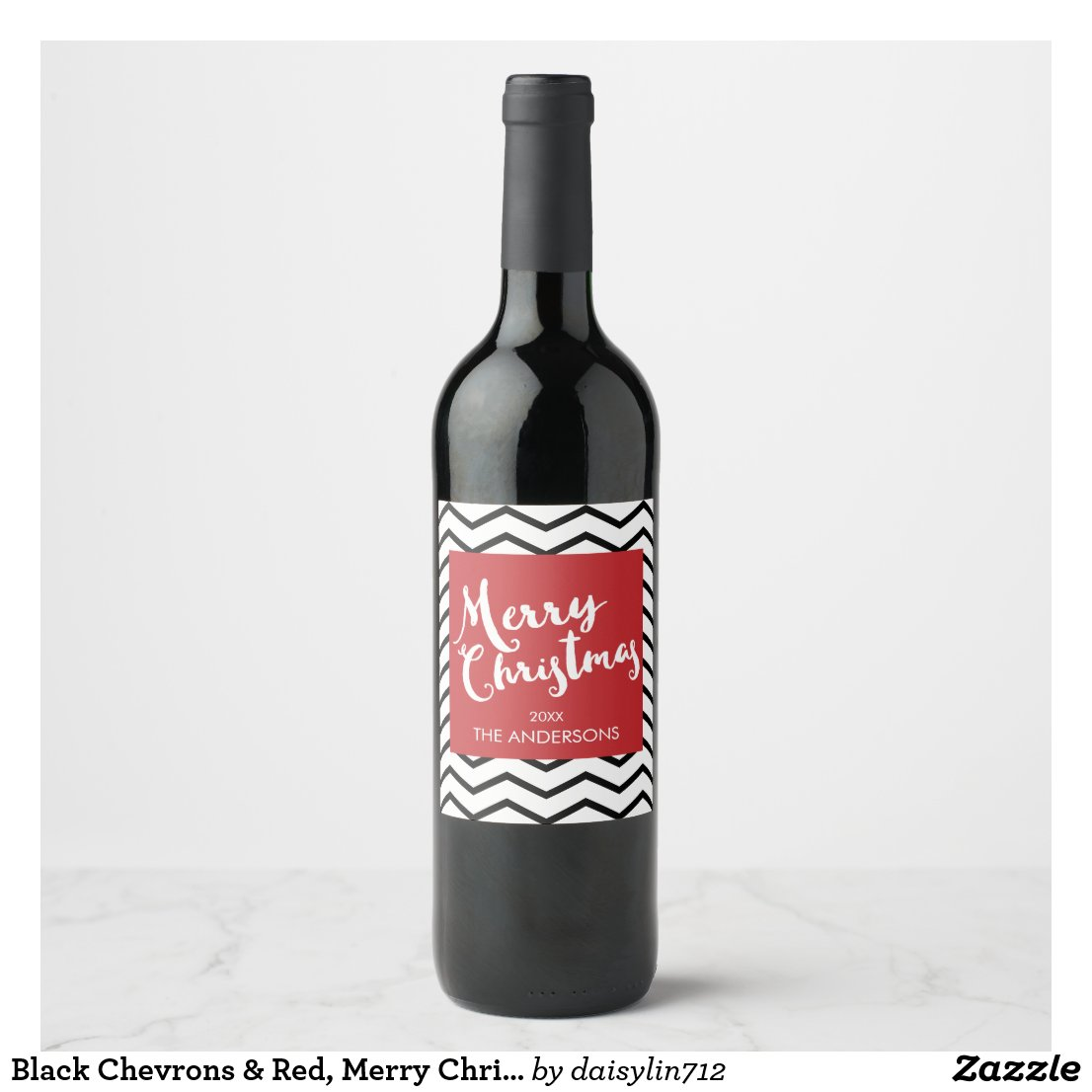 Black Chevrons & Red, Merry Christmas Personalized Wine Label
