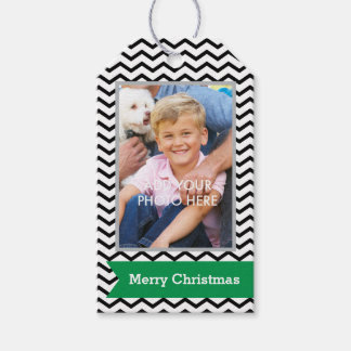 Black Chevrons with Green Banner and Photo Pack Of Gift Tags