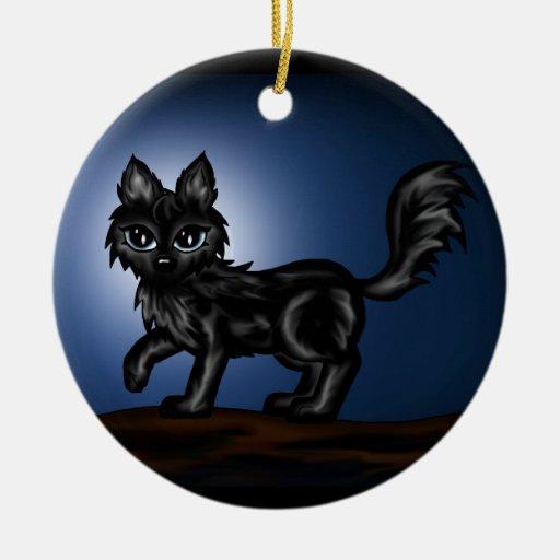 Black chibi Wolf Christmas Ornaments
