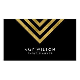 Black Chic Faux Gold Geometric Event Planner Business Card
