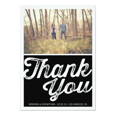 Black Chic Photo Wedding Thank You Cards