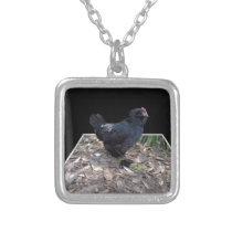 Black Chicken Pop Out,_ Silver Plated Necklace