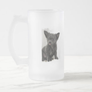 Black Chihuahua Frosted Beer Mug