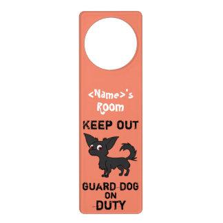 Black Chihuahua Guard Dog on Duty Door Hanger