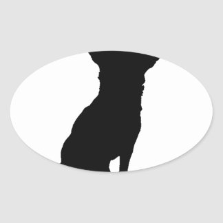 BLACK  CHIHUAHUA OVAL STICKER