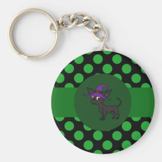 Black Chihuahua Witch with Green Dots Basic Round Button Keychain