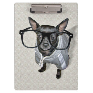 Black Chihuahua with Glasses Photo Clipboards