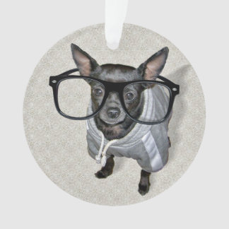 Black Chihuahua with Glasses Photo Ornament