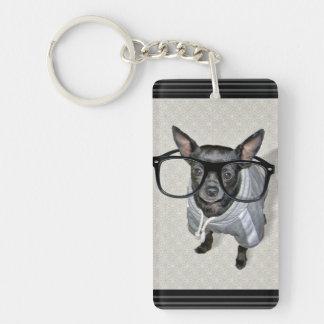 Black Chihuahua with Glasses Photo Single-Sided Rectangular Acrylic Keychain