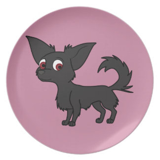 Black Chihuahua with Long Hair Melamine Plate