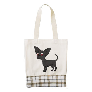 Black Chihuahua with Short Hair Zazzle HEART Tote Bag