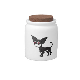 Black Chihuahua with White Markings Candy Dish
