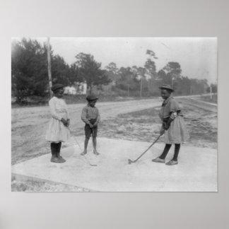 Black Children Playing Golf Photograph Poster
