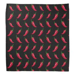 Black chili peppers pattern bandana