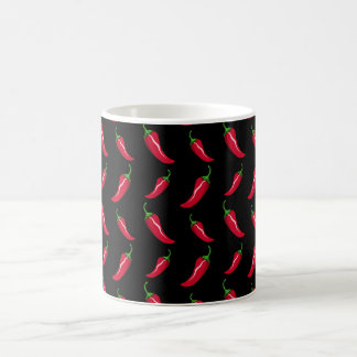 Black chili peppers pattern coffee mug