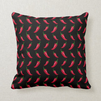 Black chili peppers pattern throw pillow