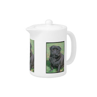 Black Chinese Pug Teapot