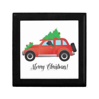 Black Chinese Shar-Pei Driving Christmas Car Gift Box