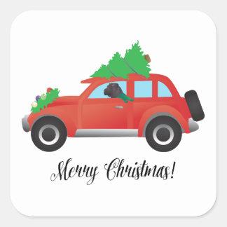 Black Chinese Shar-Pei Driving Christmas Car Square Sticker