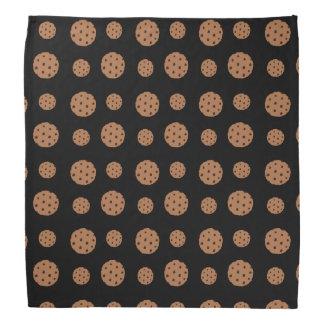 Black chocolate chip cookies pattern bandana
