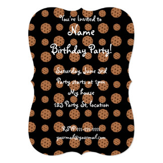 "Black chocolate chip cookies pattern 5"" x 7"" invitation card"