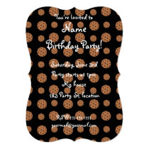 Black chocolate chip cookies pattern invitation