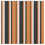[ Thumbnail: Black, Chocolate, Light Salmon, and White Stripes Fabric ]