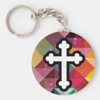 Black Christian Colourful Pattern Cross Keychain